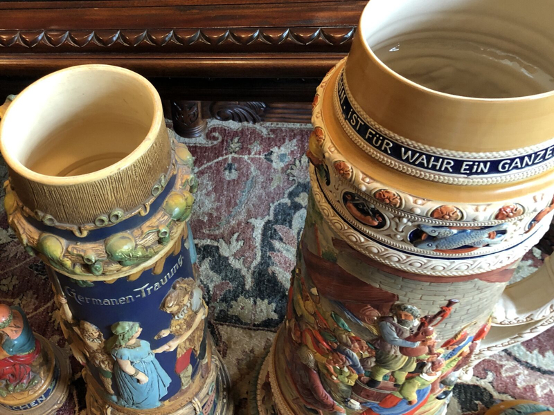 39L Girmscheid stein close to pair of 32L Gerz in a Germany stein shop (photo very old)