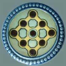 Mettlach Inlaid Lid Showing The Pin Arrangement In Of Nine Pins